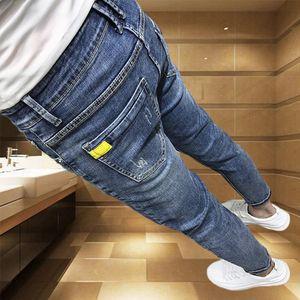 personalidad espiritual yRYLq tipo todo-fósforo online jeans moda de los hombres de moda los pantalones vaqueros de color rojo-ajuste delgado apretado pequeños pies de nueve puntos marca pantalones apretados p