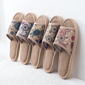 Sommer Home Slippers Damen Cotton Indoor Hauspantoffeln Damen Non-Slip Männer weiche Unterseite Folien und Haushaltswäsche