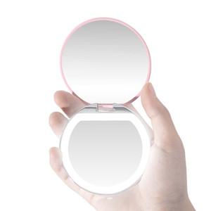 Cara bolsillo de la luz LED Mini maquillaje de labios espejo compacto cosmético del recorrido del espejo del espejo de iluminación portátil plegable de aumento 3X