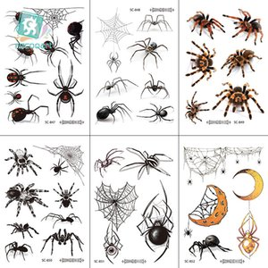 Halloween tattoos 3D Tattoo Transfer spider stickers waterproofing Halloween tattoo paste terrorist whimsy spider stickers