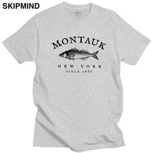 Forme la camiseta de los hombres de Montauk Nueva York camiseta de la pesca adulto Manga corta de algodón T Top pescadores Retiremen pescado camiseta Ropa