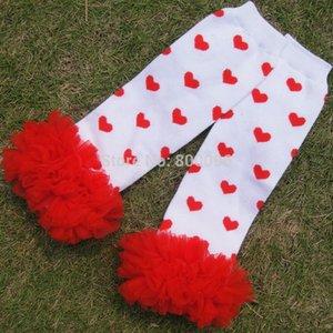 Venta al por menor volantes de encaje legwarmer calcetines para bebé amor de Navidad del corazón del galón almohadillas de diseño de la rodilla de la muchacha del bebé del muchacho