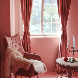 Curtains for Living Room Bedroomt Dirty Pink Curtains Light Luxury Velvet Light-Shielding Flannel Minimalist Curtain Fabric