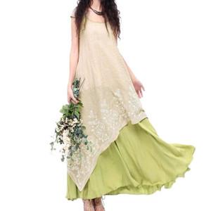 EaseHut Boho Beach Summer Dress 2020 Annata elegante ricamo floreale tunica maxi vestito lungo per la dimensione Lino Floor Plus