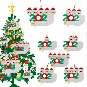 2020 adorno de navidad Survivor personalizada Familia 1 2 3 lavados a mano 4 5 decoraciones enmascarado del árbol de Navidad colgando colgante LJJP578