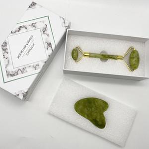 Factory Price 100% Natural Dark Green Jade Roller Facial Massage and Guasha Set Jade Facial Massager Tool for face and Body with Nox
