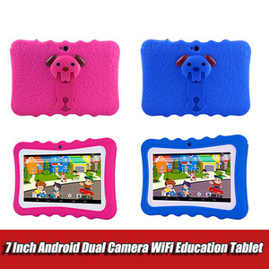 7 inch Kids Tablet PC with holder Quad Core children laptop Android 4.4 Allwinner Educational APP wifi IPS Screen protective cover