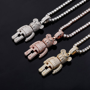 Designer Jewelry Mens Iced Out Hip Hop Chain Pendants Luxury Statement Necklace Diamond Cartoon Pendant Rapper Bling Tennis Chain Fashion