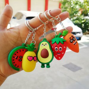 Keychain Ring Girl Heart Simulation 3D Key Chain Watermelon Carrot Avocado Pineapple Strawberry Keychain Bag Coin Purse PVC Soft Toy Pendant