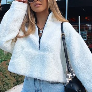 Pure Color Thickened Warm Sweater 2020 Winter New Hot Selling Long Sleeve Zipper Sweater long sleeve knit top women
