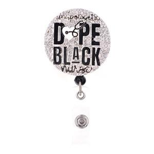 10pcs / lot Nouveau design Vente en gros rétractable noir infirmière Badge Holder pour l'infirmière Bureau cadeau Worker Accessoires Carte d'identité Reel Badge