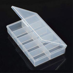 1pcs Detachable Clear 10 Slots Plastic Components Tool Jewelry Storage Box Case