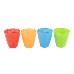 Color Cold Drink Cups Blank Cold Cups 4 Reusable Cups Coffee Tumblers Set of PP