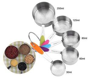Establece vajilla de acero inoxidable de las tazas Set cuchara dosificadora de la cucharada de la torta molde de silicona de colores cocina de la manija Herramienta de medición YYA1416