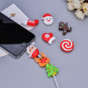 Cable Data Line Protector Lovely Animal Bite Protection Organizer Winder Christmas Xmas Chompers Charging Wire Holder Biting for iPhone