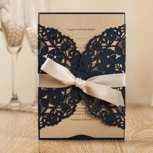 WISHMADE White Navy Blue Laser Cut Invites Cards with Floral Wedding Invitations for Birthday Engagement Bridal Shower 50pcs lot