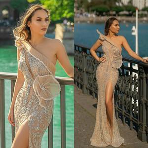 One Shoulder Illusion Prom Dresses 2021 Lace Beaded Sexy Side Slit Formal Evening Gowns vestido de novia