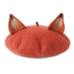 New Retro pour les femmes oreilles mignon Beret Casquettes de laine mélangée chaud Casual Painter Hat main Nick Cat Ear Béret Hot cadeau TG0283