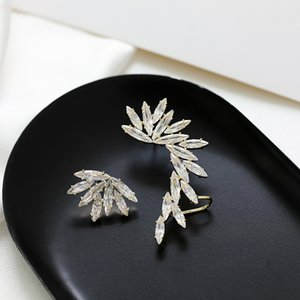 Korean fashion luxury asymmetric shiny zircon feather ear clip earrings jewelry women brand high quality ear clip high-end gift jewelry