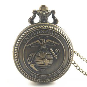 Antique Bronze Retro Mens Estados Unidos Oficiais US Marine Corps pingente dos EUA Militar USMC Homens Colar relógio de bolso jóias pingentes de