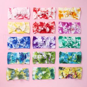 23 Stiller Çocuklar Parti Favor RRA3604 için Çocuk Bow Tie Dye Bantlar Kızlar ilmek hairbands Yumuşak Naylon Elastik Kafa Saç Aksesuarları