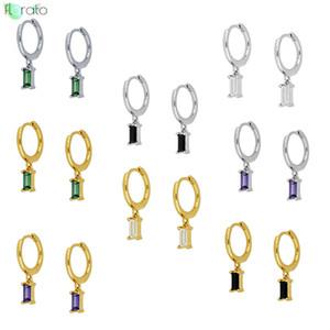 Bianco / nero / verde / viola colore CZ orecchini set minuscolo cristallo di Charme Argento 925 Piccolo orecchini a cerchio per i monili delle donne