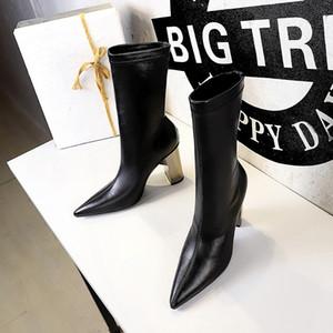 Prowow echtes Leder-runde Zehe-reizvolle Plattform Streifen Chunky Heel Herbst-Winter-Boots-Schuh-Frauen schnüren sich oben Marken Stiefel
