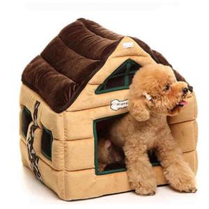 Cute Soft Dog House Pet Bed Warm Kennel Dog Cage Fleece Blanket Pupppy Playpen Sofa Cama Cachorro Pet Carrier Supplies QKK60GW