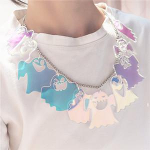 Nouveau irisation Collier Ghost pour les femmes Halloween multiniveau courte chaîne Collier Exagérer Acrylique Bijoux