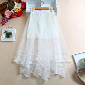 Las mujeres de cintura alta con borde de encaje festoneado Midi falda larga forrado color sólido plisado dobladillo irregular de doble capa de malla transparente Partido