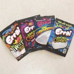 Novo 420 Edibles Embalagem Mylar Mylar Bags para Gummy Sour Brite Crawlers Sour Terp Crawlers Muito Berry Sour Twist Clow Worms Gum Edibles Sacos