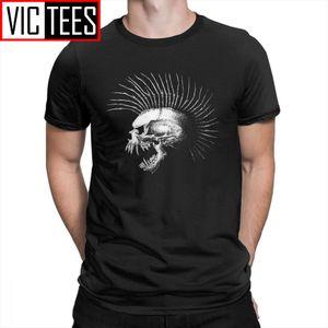Mohawk Череп Halloween Horror Men T Shirt Повседневная Очищенный хлопок Короткие рукава тройники рубашки круглым воротом футболки Street Одежда