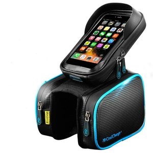 Cycling Bicycle Bag Bike Front Frame Top Tube Bag Cell Phone Touch Screen Bag Holder Waterproof Double Pouch MTB Road Bike Accessories