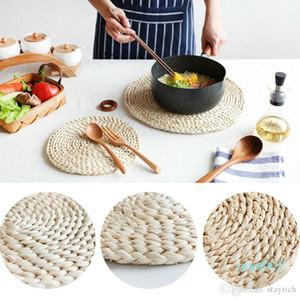 2020 Rodada Rattan Placemats Natural Milho palha trançada de jantar Mesa Mats isolamento térmico Pot Holder Cup Coasters Acessórios de cozinha