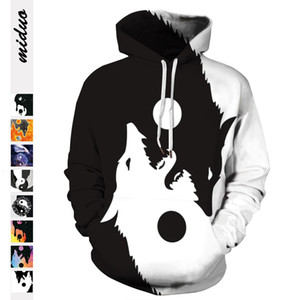 Black and White Tai Chi Yin Yang double Wolf digital printing casual pullover hooded sweater autumn baseball suit for men