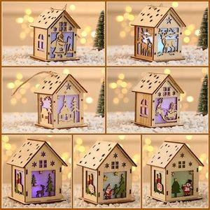 LED Hanging Cabine de madeira S M L de suspensão do Natal decorativa Pendant Wood House pingente de enfeites GWE1700