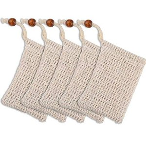 Natural cotton linen soap Wooden Beads Foaming Net beam mouth type soap saver bag Skin Bathroom Bath Brushes Sponges Scrubbers Clean Tools