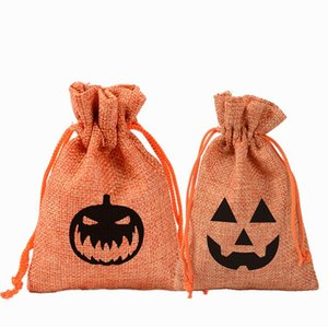 Fantôme de citrouille de Halloween Sacs cadeaux de Noël sac de rangement Sucrerie Sacs de jute Sac à cordonnet Wrap Party Creative Oornament Supplies 10 * 14cm YL441