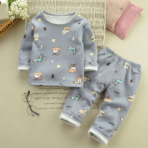 Girls Boys Thermal Underwear Autumn Winter Plush Sets Christmas Outfit Kids Clothes Suit For 1-5 Y Baby Children Warm Clothing
