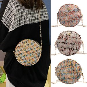 NoEnName-Null Mujeres PU Ronda Crossbody de la cadena del hombro bolsa bolsos pequeños paño de lana Bolsa de Nueva