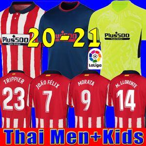 20 21 Atletico de Madrid Fußballtrikot JOAO FELIX home red Fußballtrikots 2020 2021 KOKE SAUL GODIN Fußballtrikot Trikots Männer + Kinder setzt Uniform
