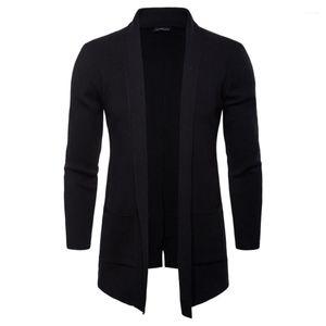 С Карманный Мужчины Куртки весна осень Mens Open Стич Solid Stand Collar с длинным рукавом Верхняя одежда Casual моды пальто Вязать