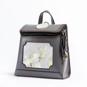 High Quality Womens Bag National Style New Retro Genuine Leather Origional Suzhou Handmade Embroidery Womens Backpack Leather Womens Backpac