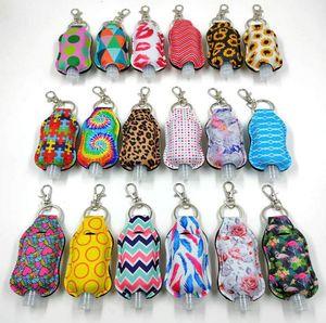 Hand Sanitizer Holder Neoprene Chapstick Holders Leopard Lipstick Cases Cover Hand Sanitizer Perfume Bottles Sunflower Keychain DHE1889