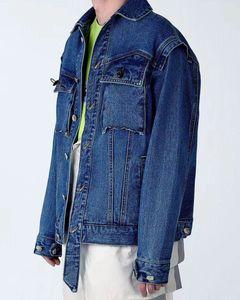 New ADER ERROR asymmetric rivet damage pocket denim jacket