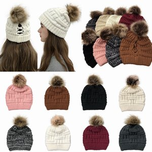 Pom Pom Cross Ponytail Beanie Winter Warm Wool Knitted Hat Criss Cross Ponytail Hat Knitting Women Beanie HHA1598