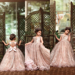 New Bling Cheap Rose Gold Sequined Flower Girl Dresses For Weddings Lace Sequins Bow Cap Sleeveless Girls Pageant Dress Kids Communion Gowns