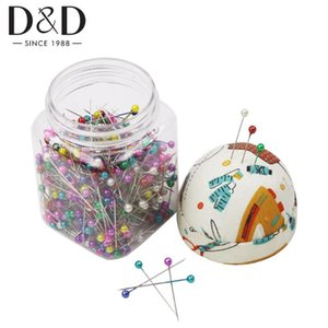500pcs Sewing Pins Round Pearl Head Pins Quilting in Plastic Storage Jar with Pin Cushion DIY Crafts Accessories