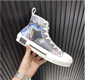 Оригинальный стиль 20SS новый высококачественный мужчина синий механическая Tyrannosaurus печать высокого верха обуви холст женщины письма граффити плоские ботинки