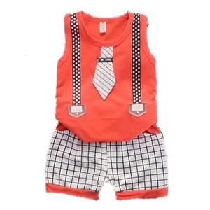 Crianças Verão Roupa Terno Meninos Bebés Meninas Malha Tie Vest Shorts 2pcs / define Crianças Brasão infantil criança Fashion Clothes